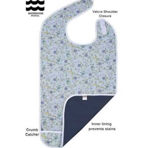 ADULT BIB / CLOTHING PROTECTOR- Blue Floral