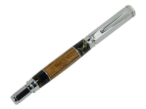 Segmented Maple Burl, Trustone and Aluminum Vertex Pen