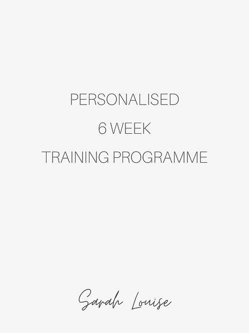 6 week Personalised Training Programme