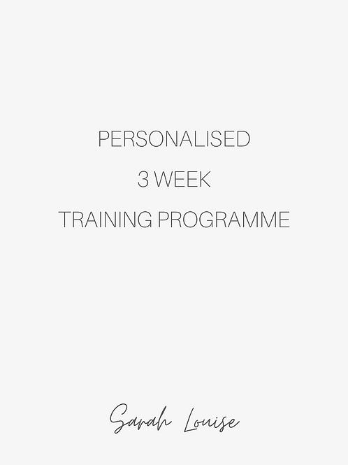 3 week Personalised Training Programme
