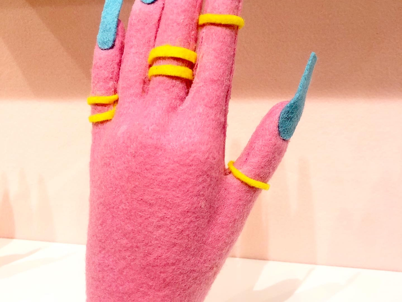 Sarah Scheideman felt soft sculpture 'he