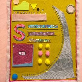 Sarah Scheideman canvas piece, multi med
