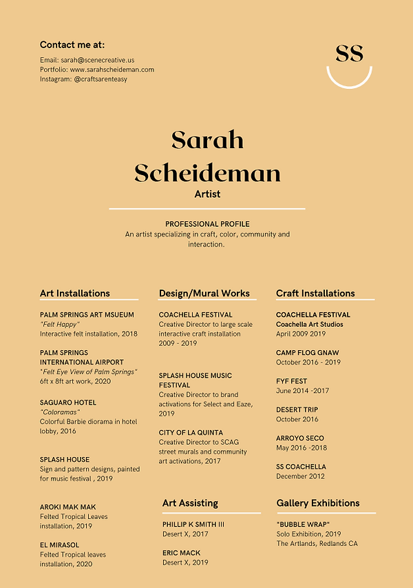 Sarah Scheideman Art Resume