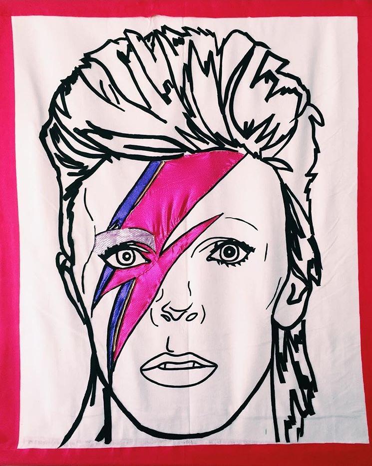 Felt Banner of Bowie for Vans at FYF Fes