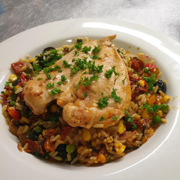 Woodfired, Skillet Baked, Mediterranean style Butterflied Chicken Breast