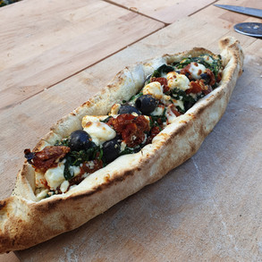 Spinach, Feta, Sundried Tomatoes with Olives Turkish Pide