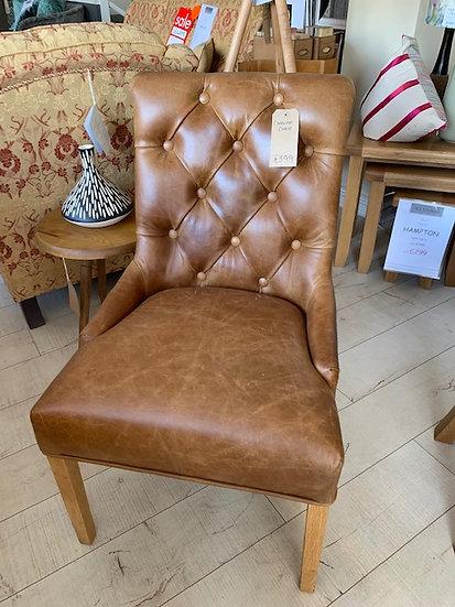 Occasional Chair Vintage Leather Harris Tweed