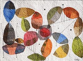 'Le donne sanno intrecciare foglie da sempre'  Acquerello e collage su carta fatta a mano . 20x30 cm