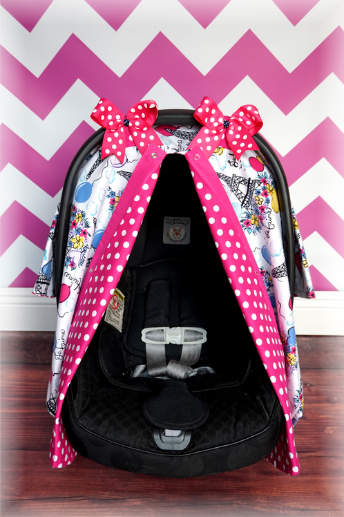 flannel paris pink polka dot canopy jaydenandolivia carseat canopies. Black Bedroom Furniture Sets. Home Design Ideas