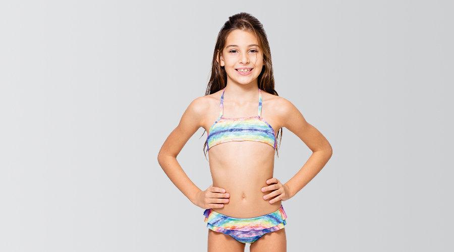 Biquíni Infantil Top Calça com Babado - Com Proteção UV
