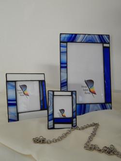 Porta Retratos Vitral Azul Barroco