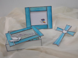 Conjunto Baptizado Vitral Azul Bébé