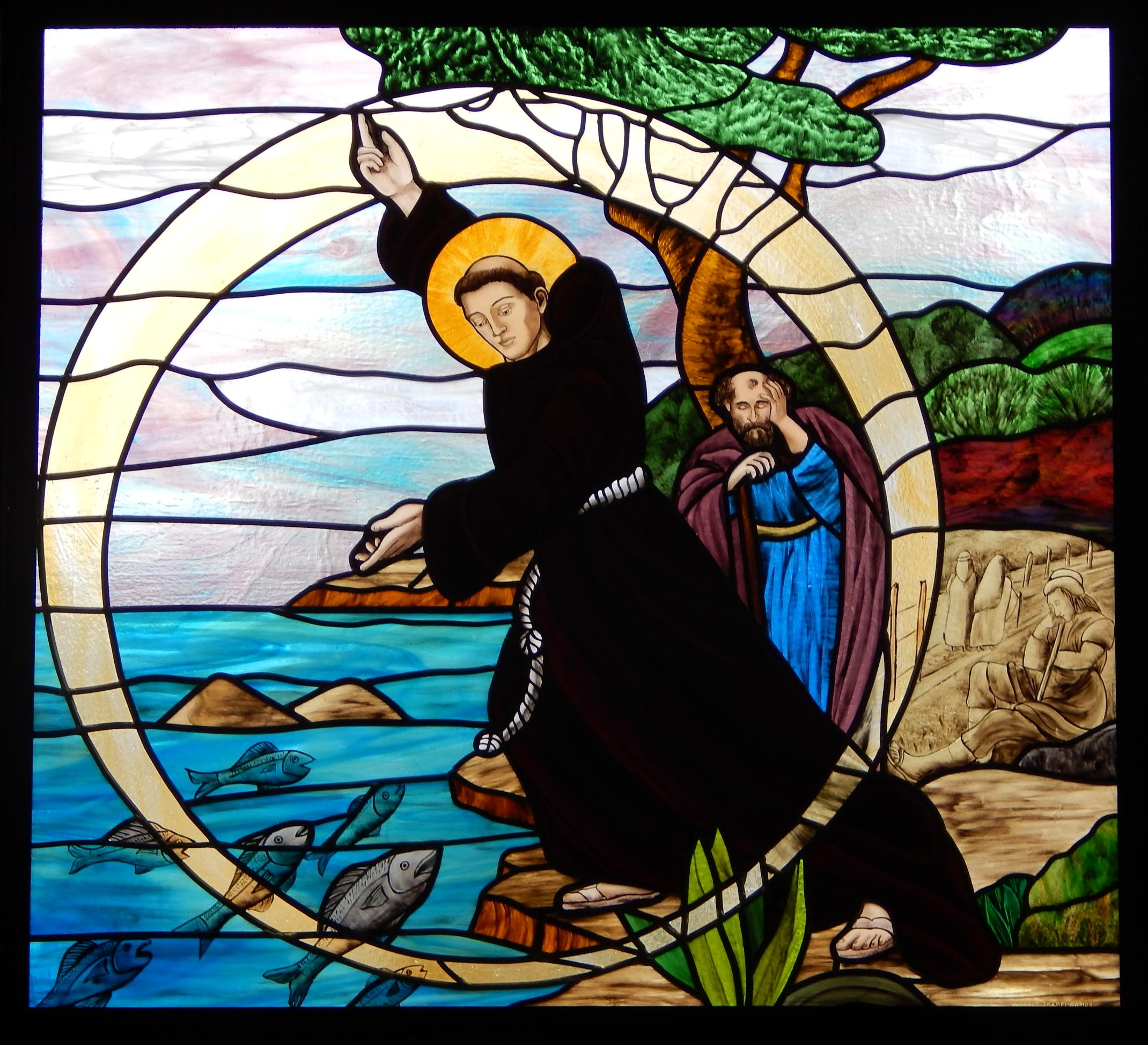 Vitral Sermão Sto António aos Peixes