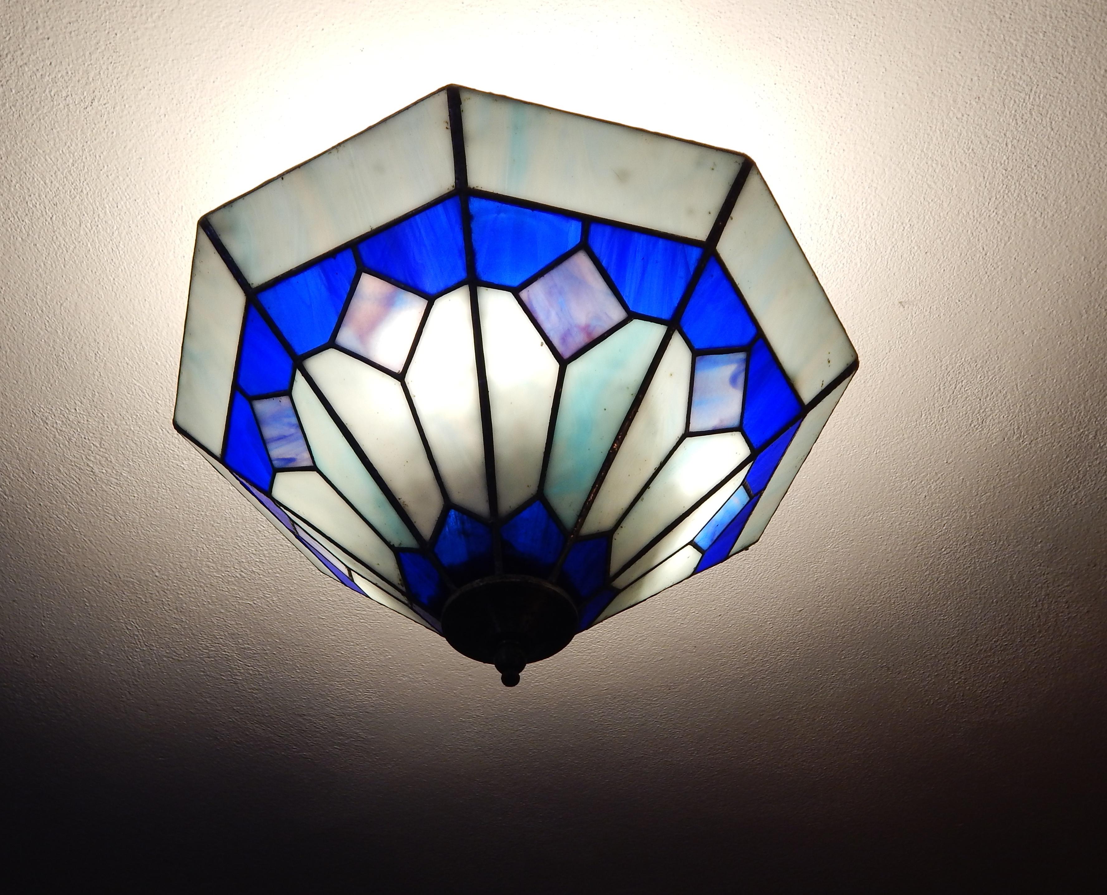 Candeeiro Tiffany Vitral Azul