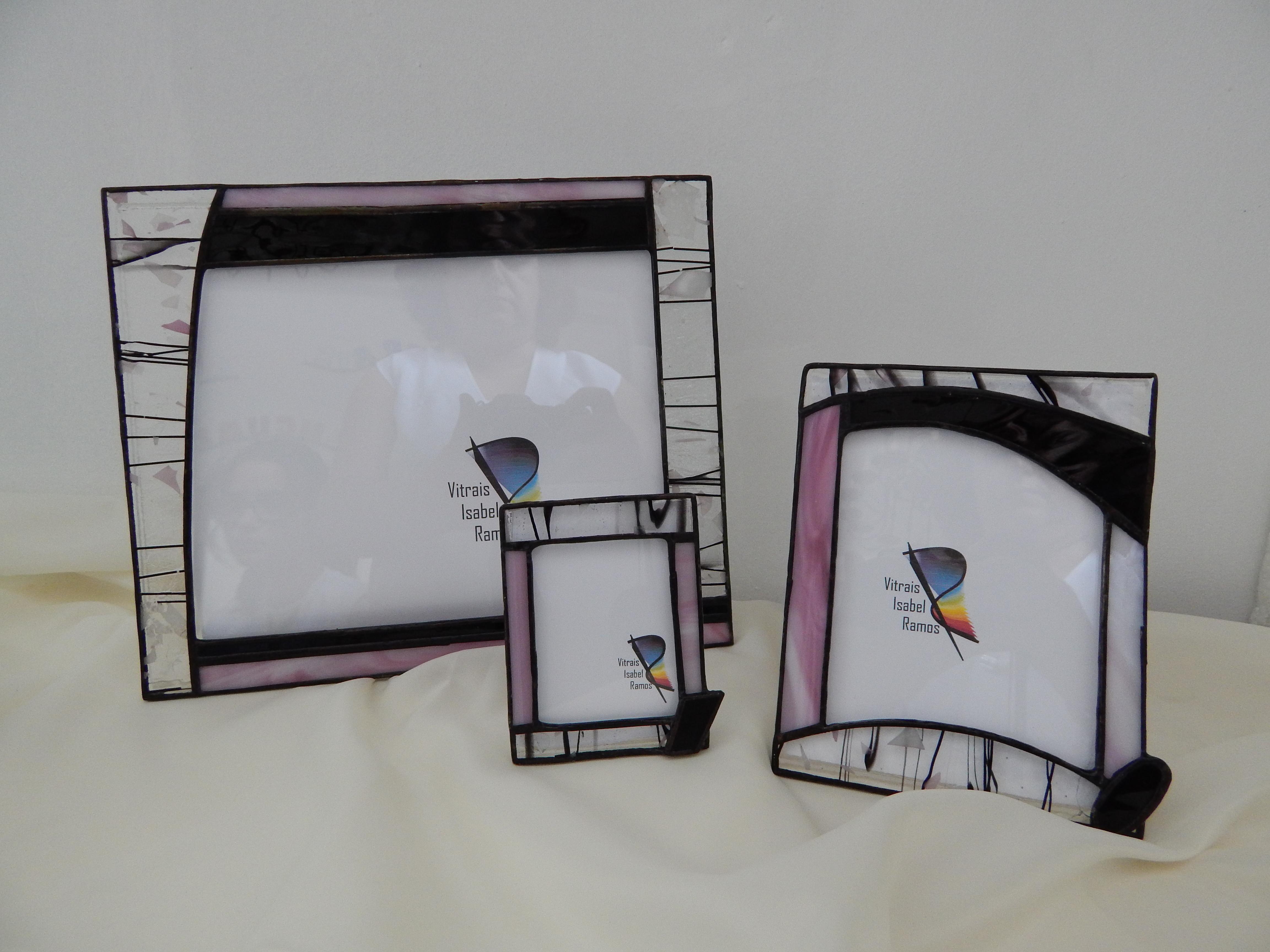 Porta Retratos Vitral Rosa e Preto