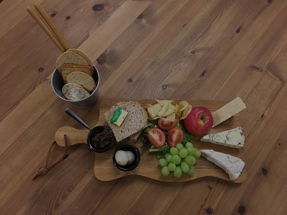 cafe platter with bread, crisps and salad and fruit