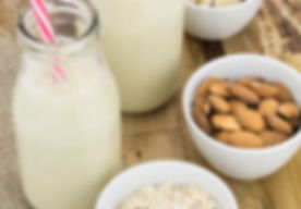 Bottles of homemade plant based milk and