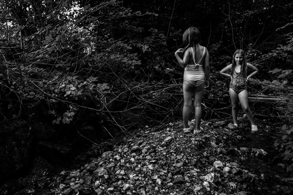 sisters in bathing suits