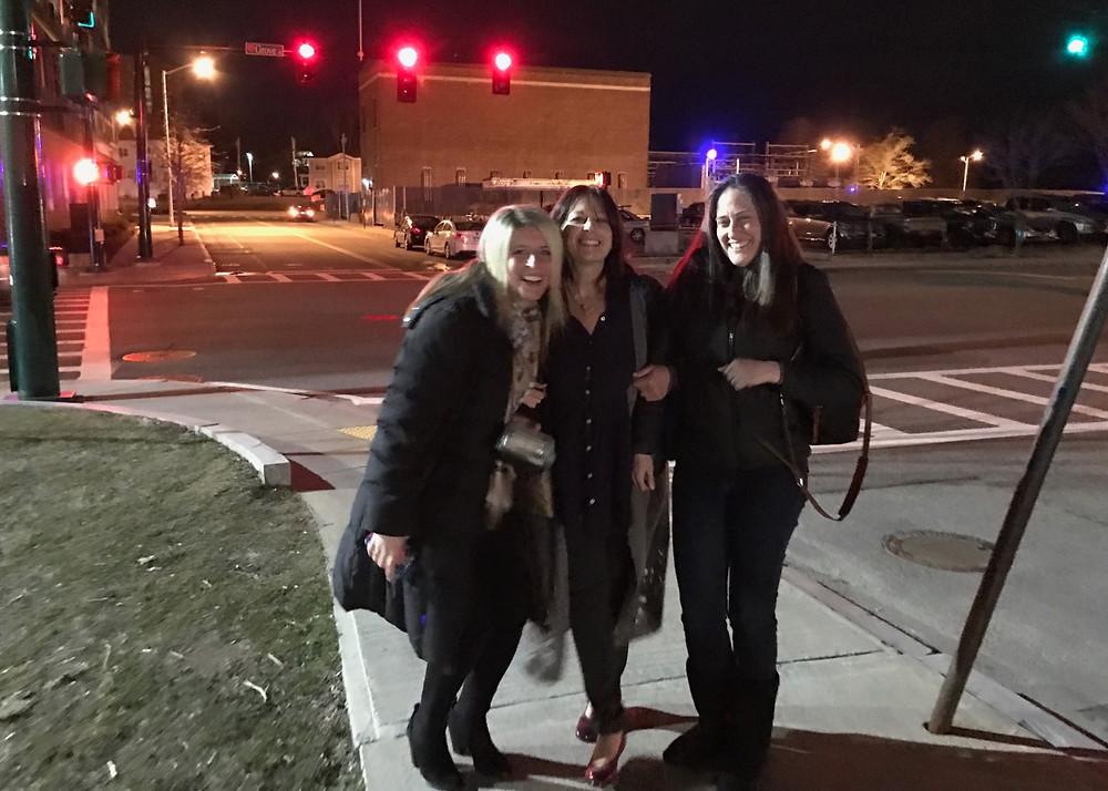 Kari, Lisa, and Elana, posing in the red light district