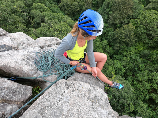 Belaying at the top of the Crag