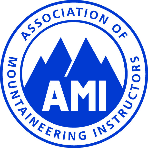 Badge of the Association Of Mountaineering Instructors full members must hold a minimum of Mountaineering & Climbing Instructor Qualification