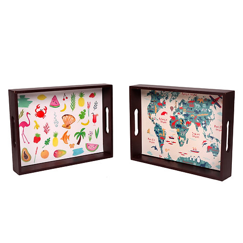 Kids Wooden Trays - Set of 2