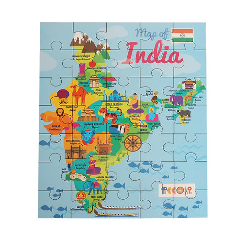 Piccolo Map of India Wooden Puzzle - States & Capitals