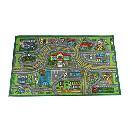 Around the Town Car Track Play Rug - Green