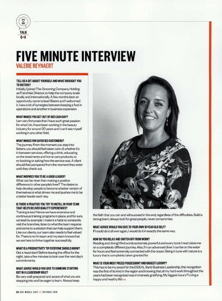 CEO Middle East - Five minute interview with Valerie Reynaert