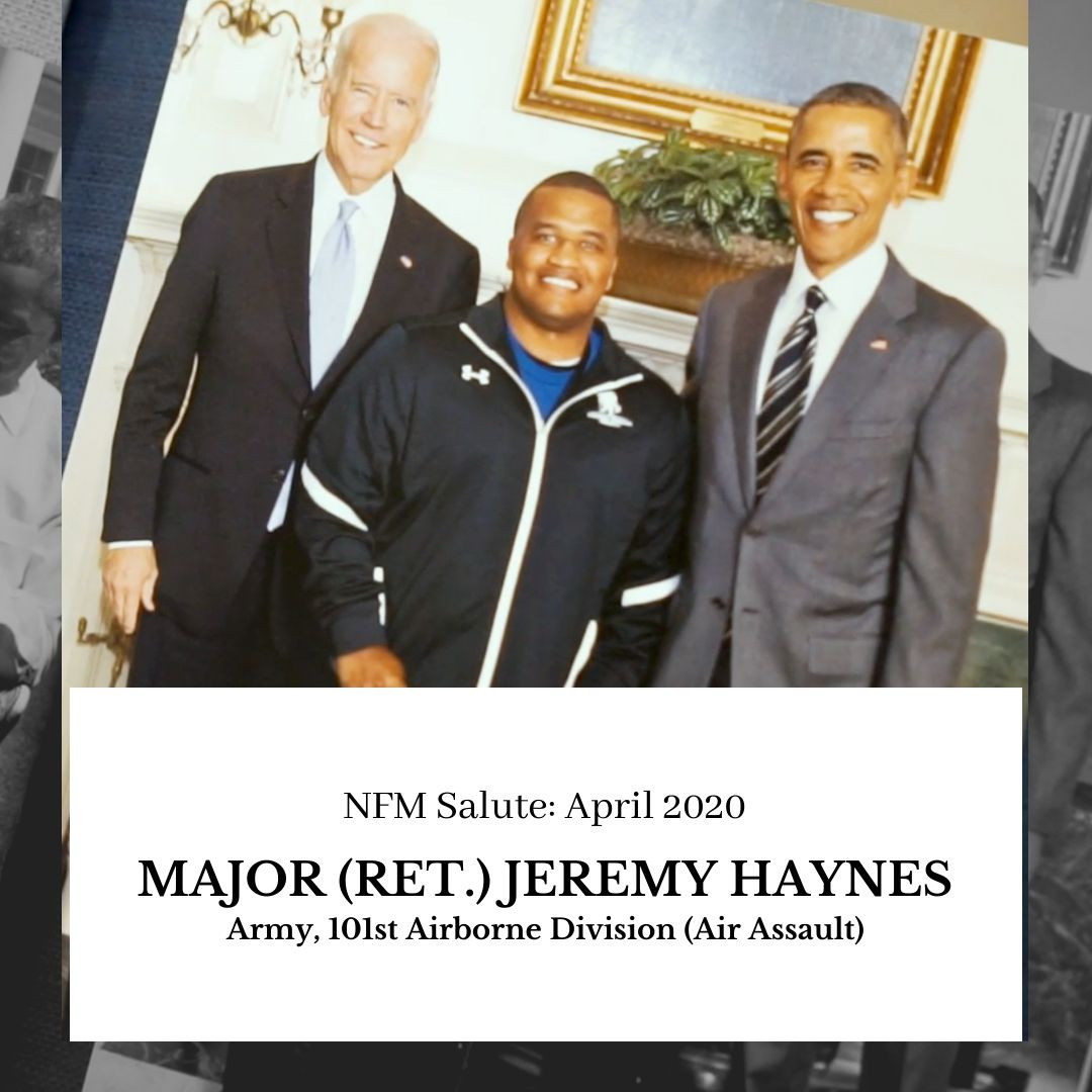 NFM Salute, April 2020 - Major (Retired) Jeremy Haynes