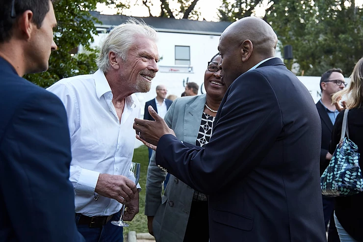 Richard Branson with Tsholo and Wesley Noble
