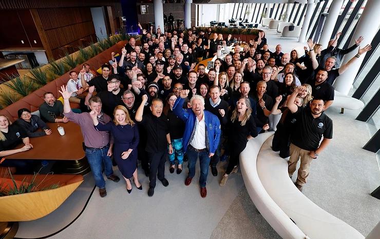 Richard Branson with Virgin Galactic Team