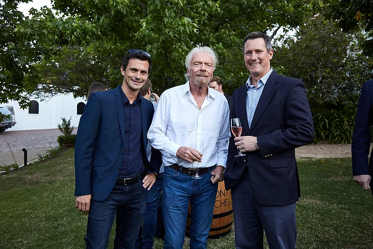 Richard Branson with Wesley Noble and Rowan Le Roux