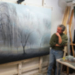 Didier-Nolet French American Artist in Studio with Work