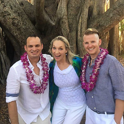 Rev Heidi Alfrey with two men she has married
