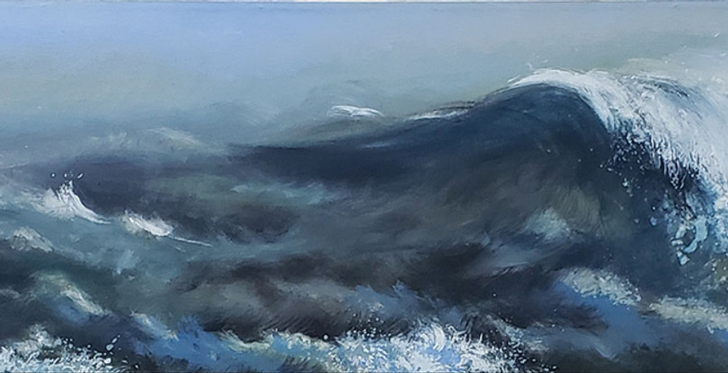 """""""Rolling Water"""" Acrylic on Canvas, 16"""" x 96"""" 2006"""