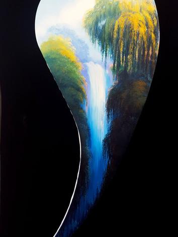"""""""Chute d'Eau"""" Oil on Canvas, 78"""" x 28"""" 2017"""