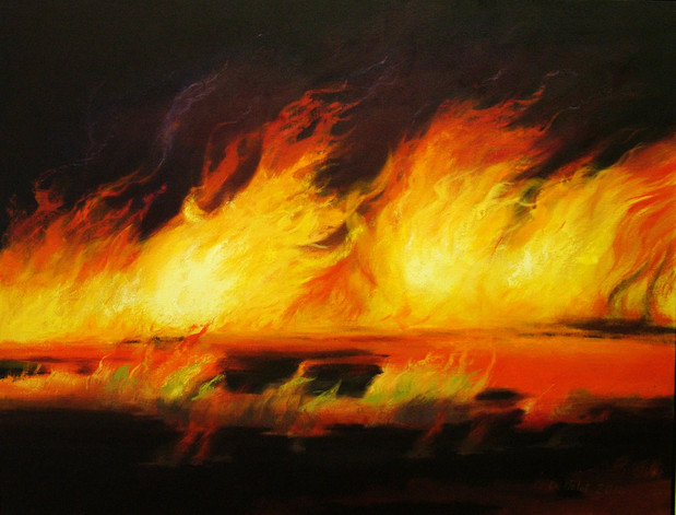 """""""Early Fire"""" Oil on Canvas, 38"""" x 50"""" 2014"""