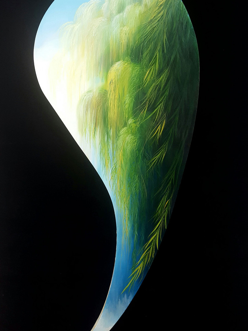 """""""Growing"""" Oil on Canvas, 76"""" x 29"""" 2017"""