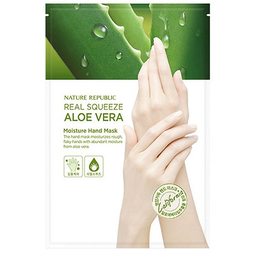 NATURE REPUBLIC - REAL SQUEEZE ALOE MOISTURIZING HAND MASK (MASKA ZA ROKE)