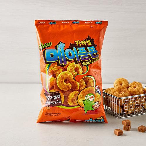 CROWN Maple Corn  čips z okusom karamele  카라멜 메이플콘