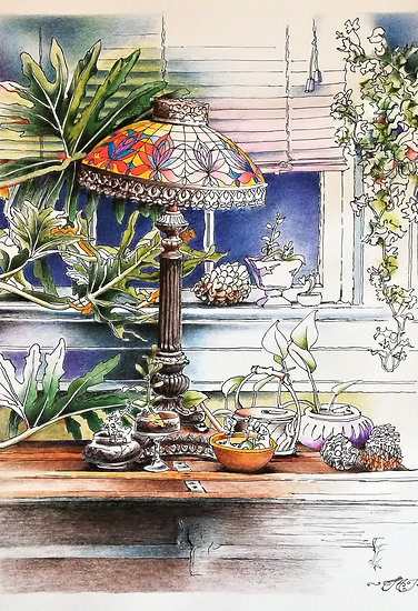 Tiffany Lamp with Plants
