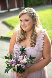 Half up half down with side plait and natural make-up