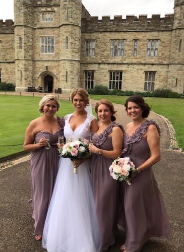 Bridal party outside leeds castle