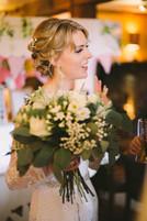 Highlights enhance this bridal up-do