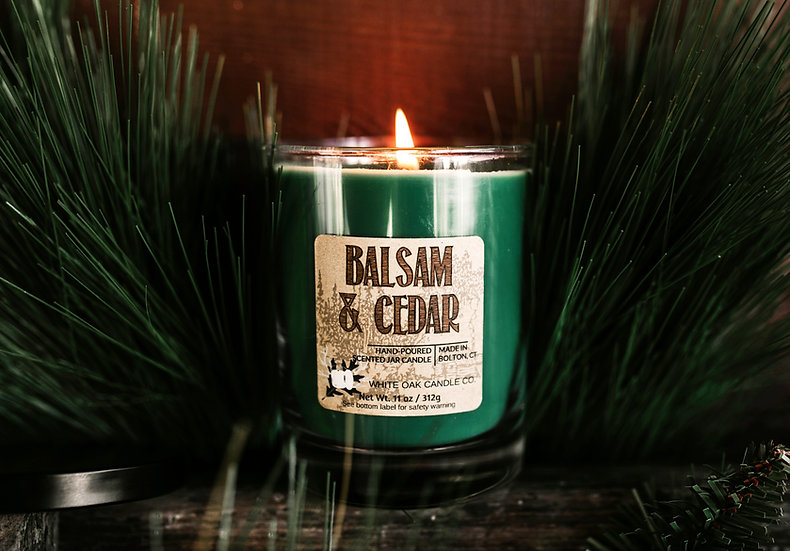 white Oak Candles Balsam & Cedar