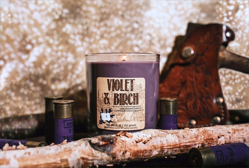 Violet and Birch scented candles. Soft floral, warm woods
