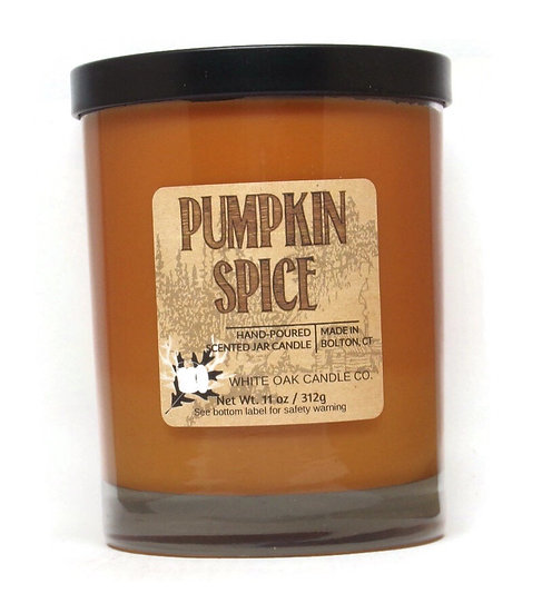 Pumpkin Spice scented and pumpkin colored jar candles