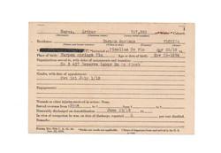 arthur hayes military registry card
