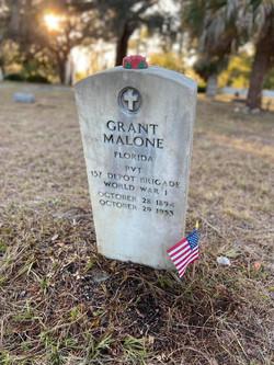 Grant Malone WWI memorial